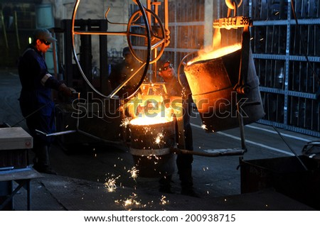 Working in a foundry, Stara Zagora, Bulgaria, February 11, 2014 - stock photo