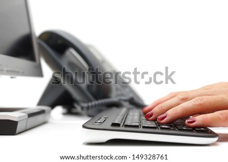 working in call center - stock photo