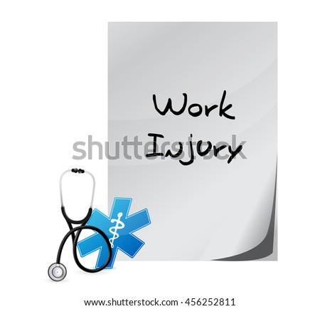 Working injury documentation sign concept graphic illustration design