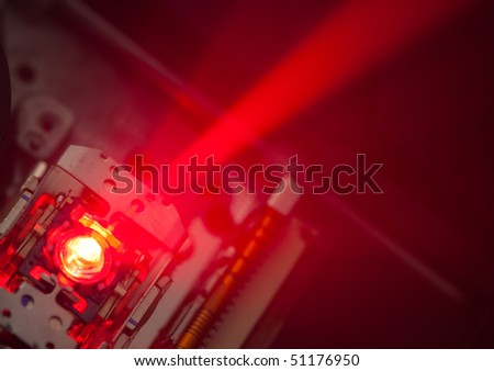 working laser lens of dvd - stock photo
