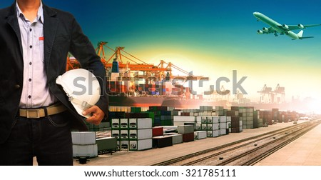 working man and ship,trains ,plane ,freight cargo logistic and import,export transportation - stock photo