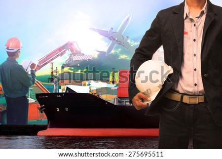 working man in ship port use for vessel ,nautical and import export transport logistic industry - stock photo