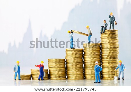 Working men creating business growth - stock photo