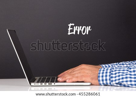 WORKING OFFICE COMMUNICATION PEOPLE USING COMPUTER ERROR CONCEPT - stock photo