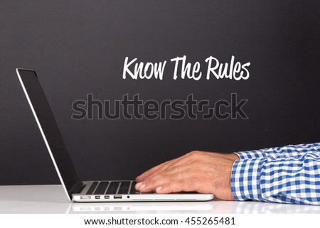WORKING OFFICE COMMUNICATION PEOPLE USING COMPUTER KNOW THE RULES! CONCEPT - stock photo