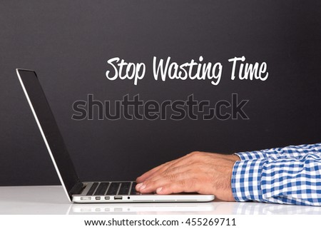 WORKING OFFICE COMMUNICATION PEOPLE USING COMPUTER STOP WASTING TIME CONCEPT - stock photo