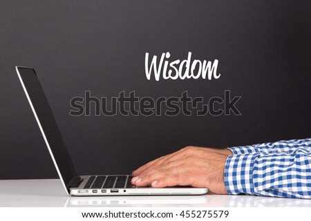 WORKING OFFICE COMMUNICATION PEOPLE USING COMPUTER WISDOM CONCEPT - stock photo