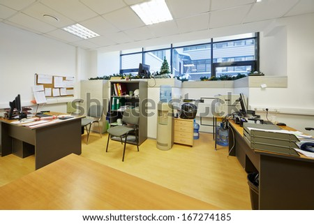 Working office in business center - stock photo