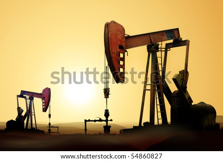 Working oil pump in deserted district at sunset - stock photo