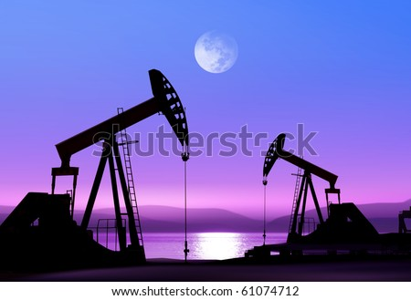 Working oil pump in deserted district in the bright of the moon - stock photo