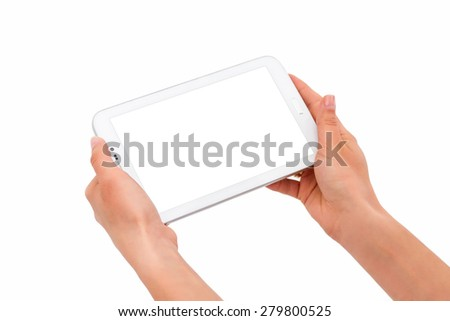 Working on a Tablet PC - stock photo