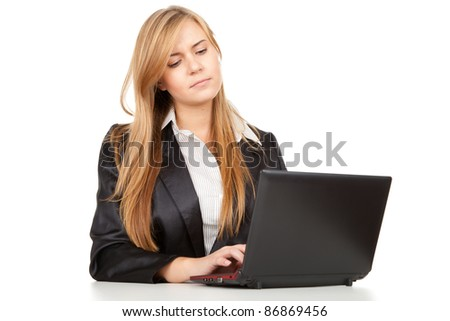 working on laptop business woman, white background