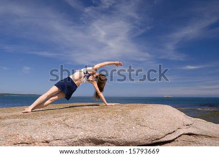 Working out on the rocky coast of the Atlantic Ocean