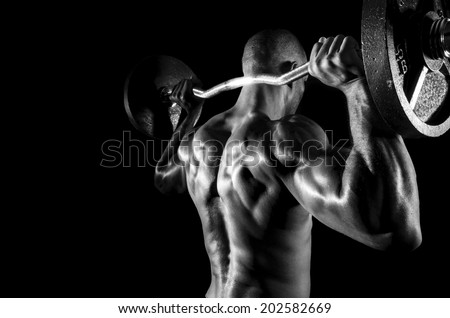 working out with weights - stock photo