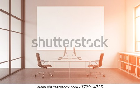 working place for two people, computers and tables opposite each other. A blank poster on the white wall. Window to the right, shelves under it. Filter. Concept of work. 3D rendering - stock photo