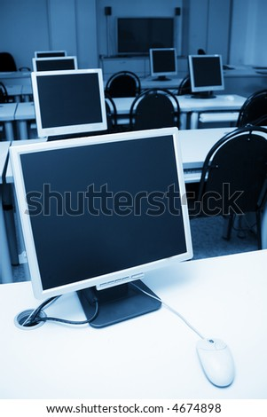 working place in a computer office - stock photo