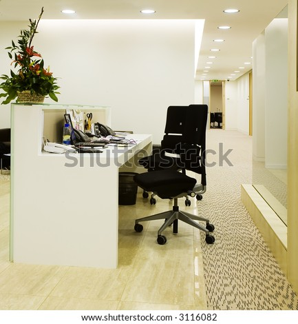 working place of a receptionist
