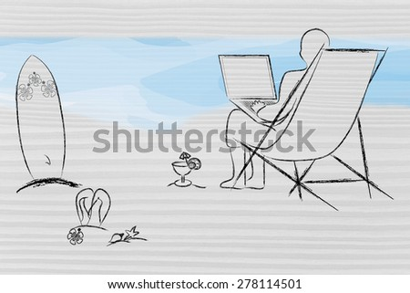 working remotely, man typing on his laptop from the beach