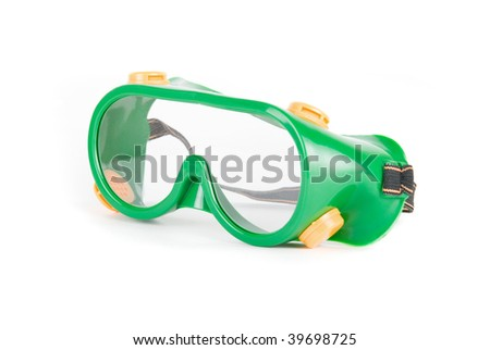 Working safety glasses close-up isolated on white background