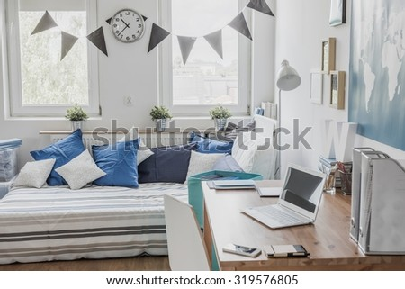 Working space for children in the house  - stock photo