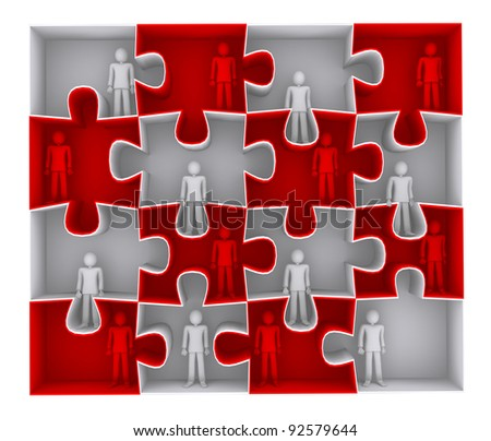 working structure, network of connected people, puzzles - stock photo