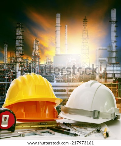 working table of engineer in oil refinery industry plant use for heavy industry and energy manufacturing in industrial business - stock photo