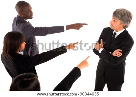working team point the finger at a colleague - stock photo