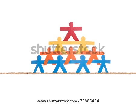 Working team standing on single rope, isolated on white background - stock photo