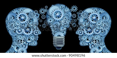 Working together as a team for innovative strategies and creating new ideas and products with leadership and education represented by two human heads and a lightbulb in the shape of gears and cogs . - stock photo
