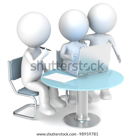 Working together. 3D little human characters X3 working. Business People series. - stock photo