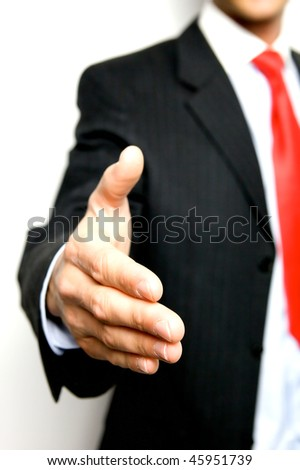 Working Together - Hand Shake with great spirit - stock photo