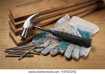 Working Tool On wood background - stock photo