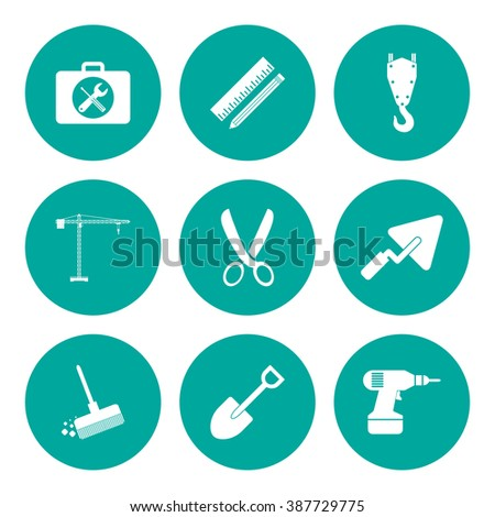 Working tools icon set. Flat design style  - stock photo