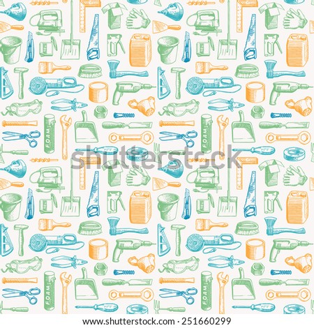 Working Tools Instruments Seamless Pattern - stock photo