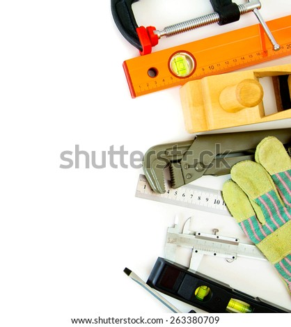 Working tools. Many working tools - caliper, ruler and others on white background. - stock photo