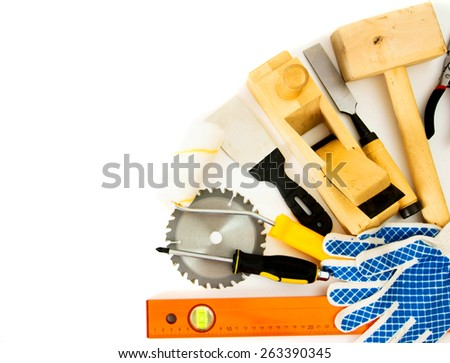 Working tools. Working tools on a white background. - stock photo