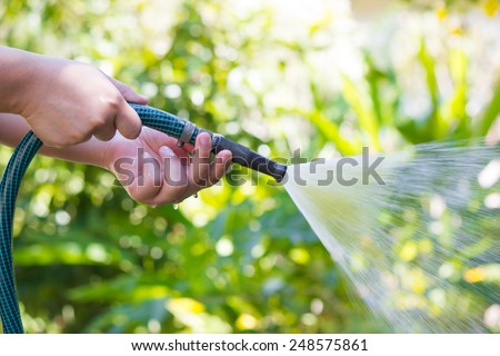 Working watering garden from hose - stock photo