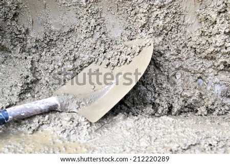Working with cement at a construction site