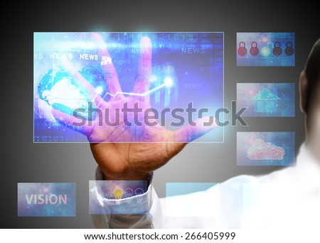 working with digital vurtual screen - stock photo