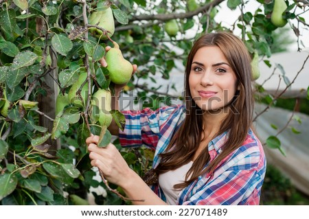 Working with pleasure. Beautiful young woman in uniform gardening and smiling at camera. Greenhouse produce. Food production.  - stock photo