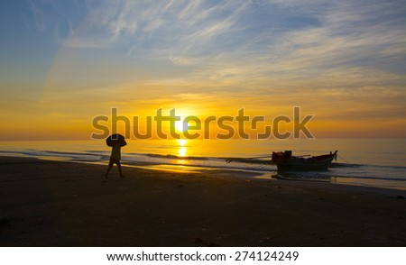 Working with the sea. - stock photo