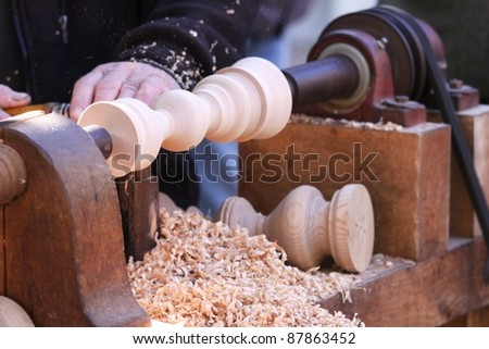 working with wood - stock photo