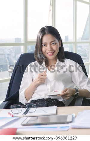working woman and beverage cup in hand toothy smiling face with happiness emotion use for people and office life