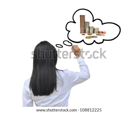 working woman hand drawing think to money - stock photo