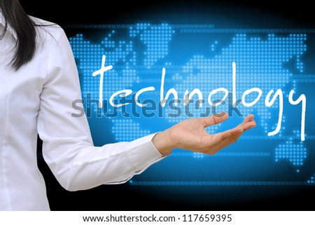 working women hand holding technology - stock photo