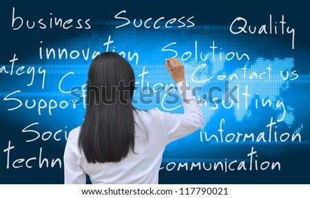 working women hand writing - stock photo