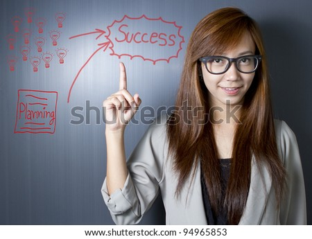 Working women with a strategy plan to be successful in her business