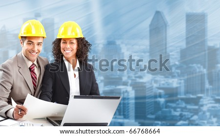 Working young architects - stock photo