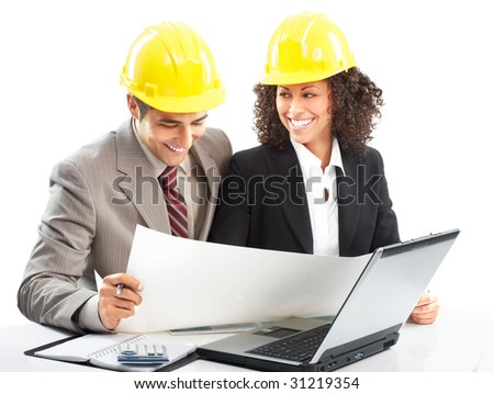 Working young architects. Isolated over white background