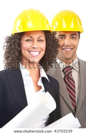 Working young architects. Isolated over white background - stock photo
